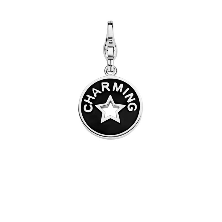 Charm 925 Silber Coin Black & White
