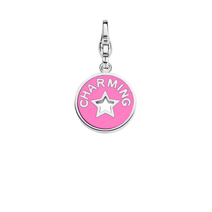 Charm 925 Silber Coin Pink & Purple