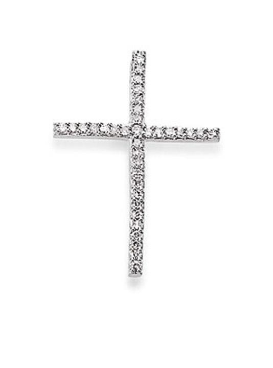 Anhänger Kreuz 585 Weißgold Diamant 0,11ct H/P
