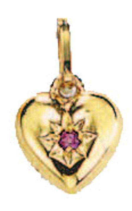 Anhänger Herz 585 Gelbgold Rubin