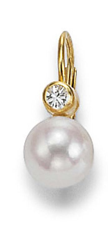 Ohrringe 585 Gelbgold Diamant Zuchtperle 5,5-6mm