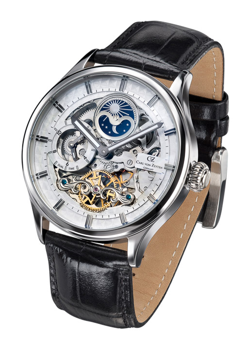 Armbanduhr Neustadt Skelett,Dual Time, Tag & Nacht, Std. + Minute