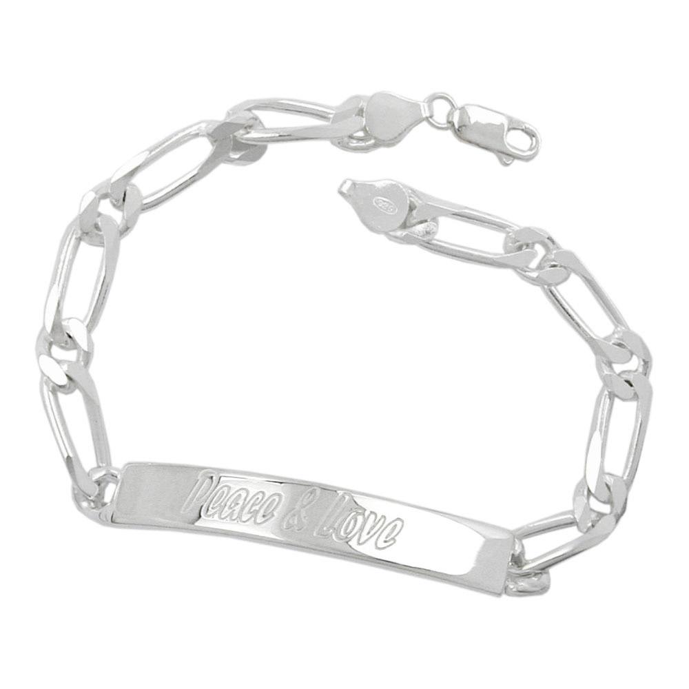 Armband Schildband, Peace u. Love, 6x diam, 925