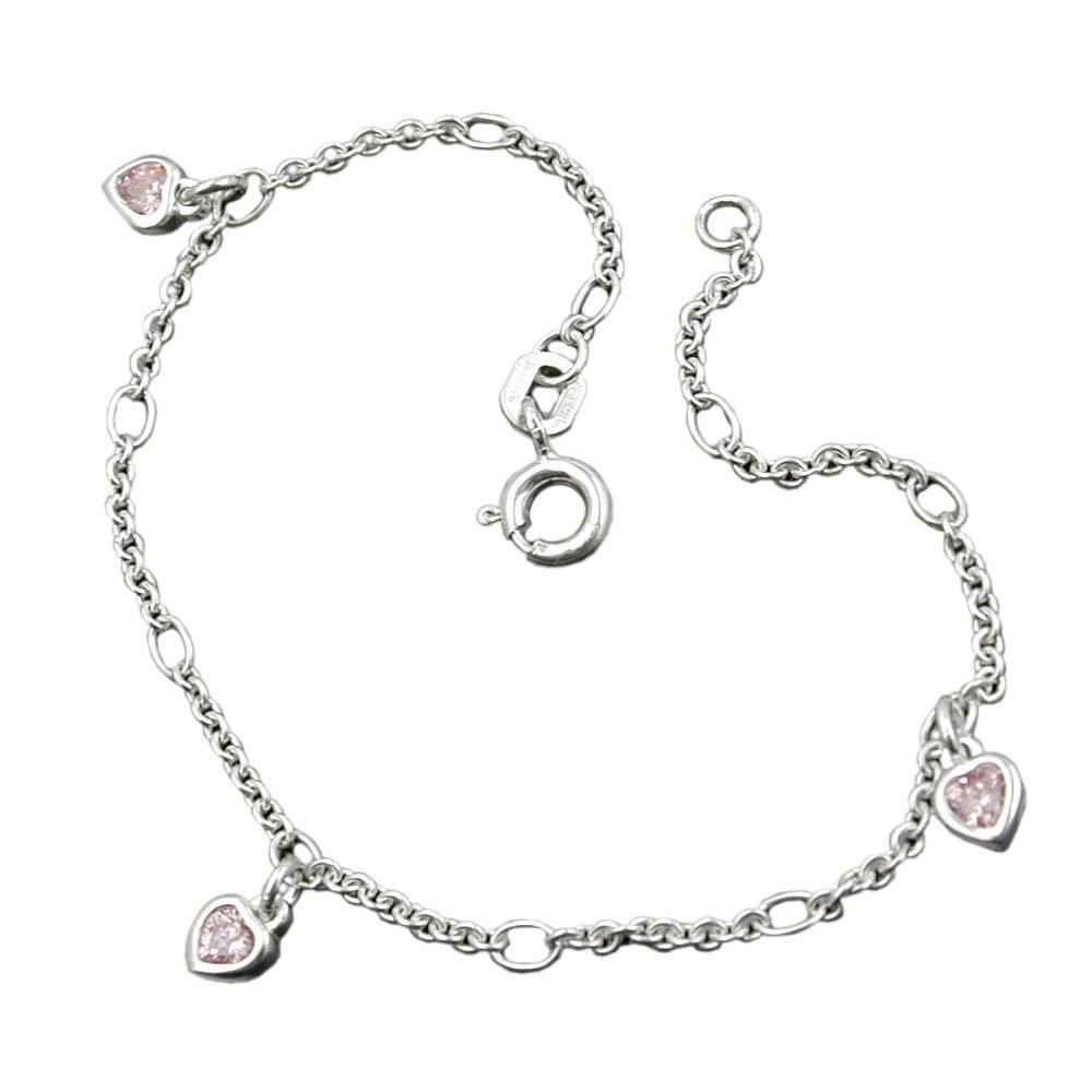 Armband, Herz, Zirkonia pink, Silber 925