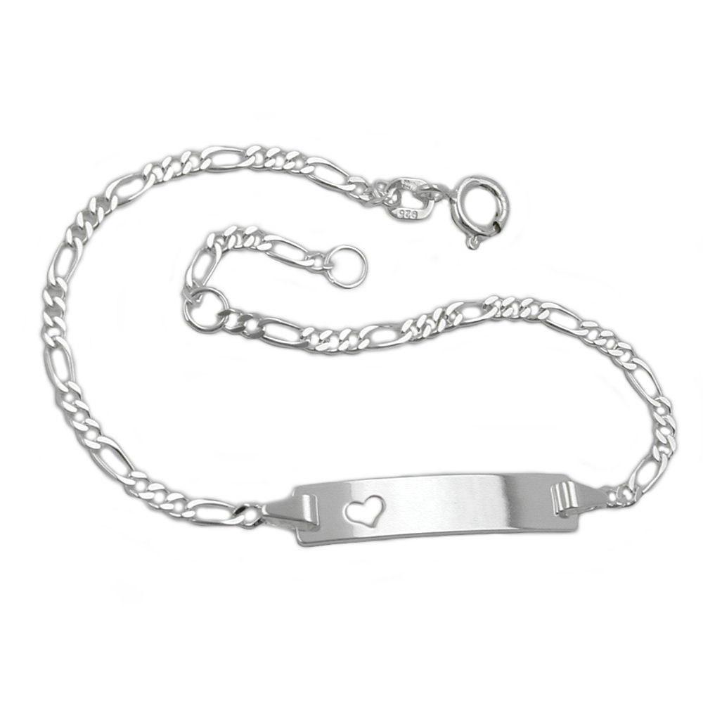 Armband Schildband mit Herz, Silber 925