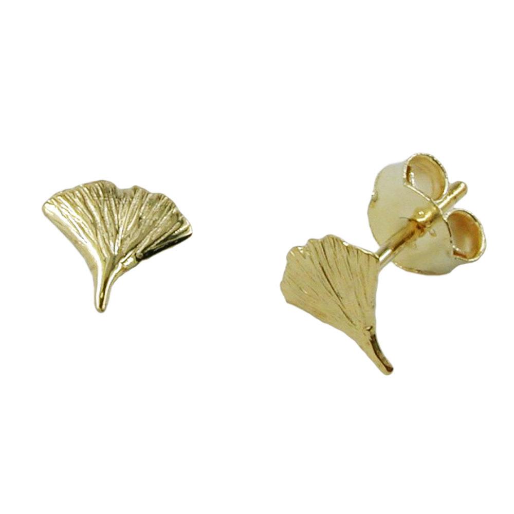 Ohrstecker 7mm Ginkgoblatt glänzend Gold 375