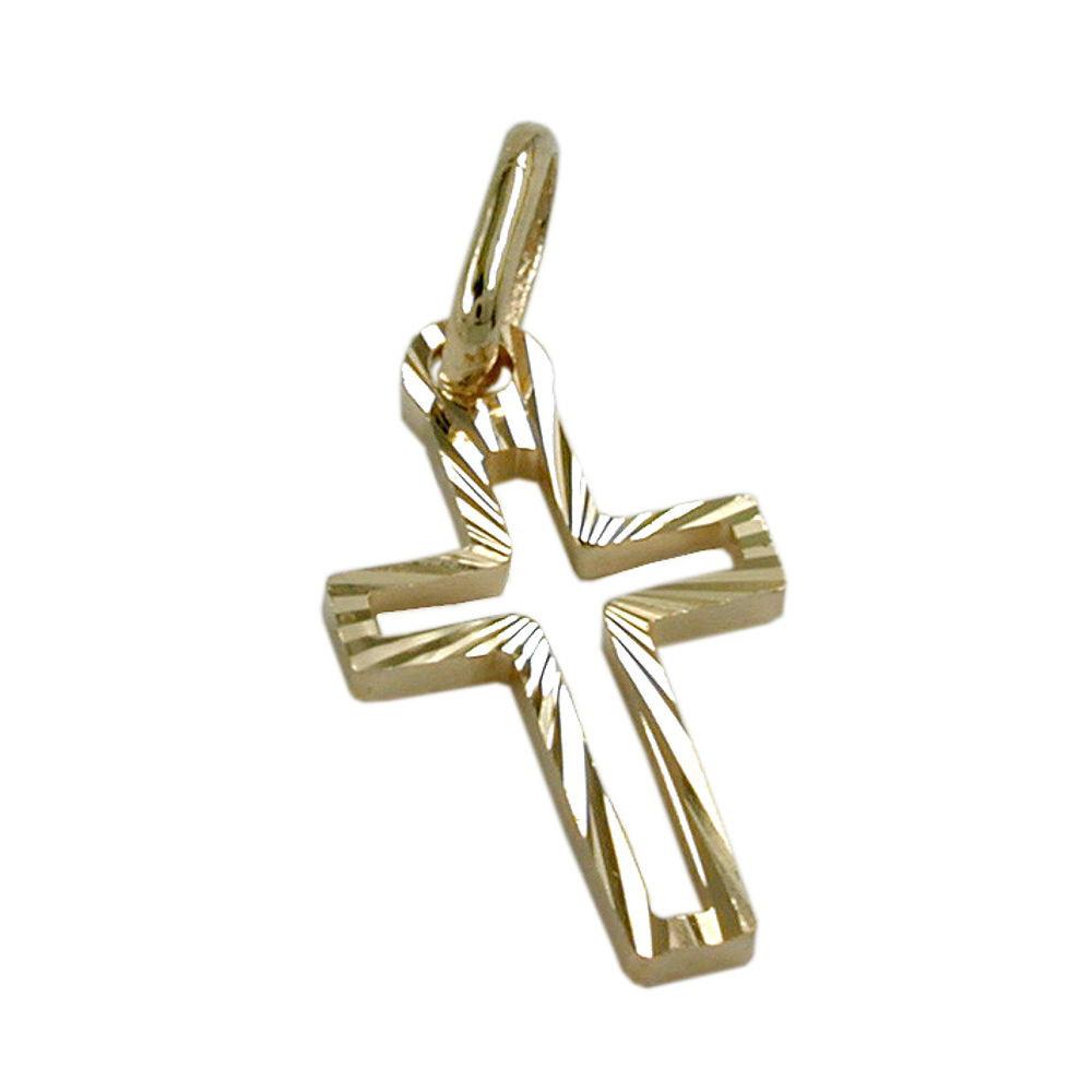 Anhänger 16x9mm Kreuz diamantiert Gold 585