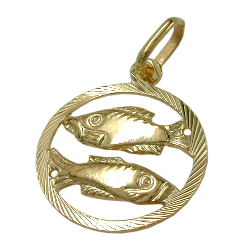 Anhänger Sternzeichen, Fische, Gold 375