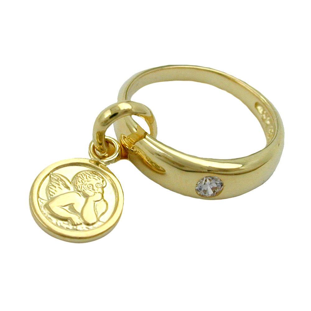 Anhänger, Taufring mit Engel Gold 375