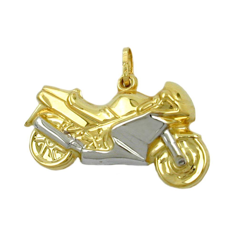 Anhänger 28mm Motorrad bicolor Gold 375