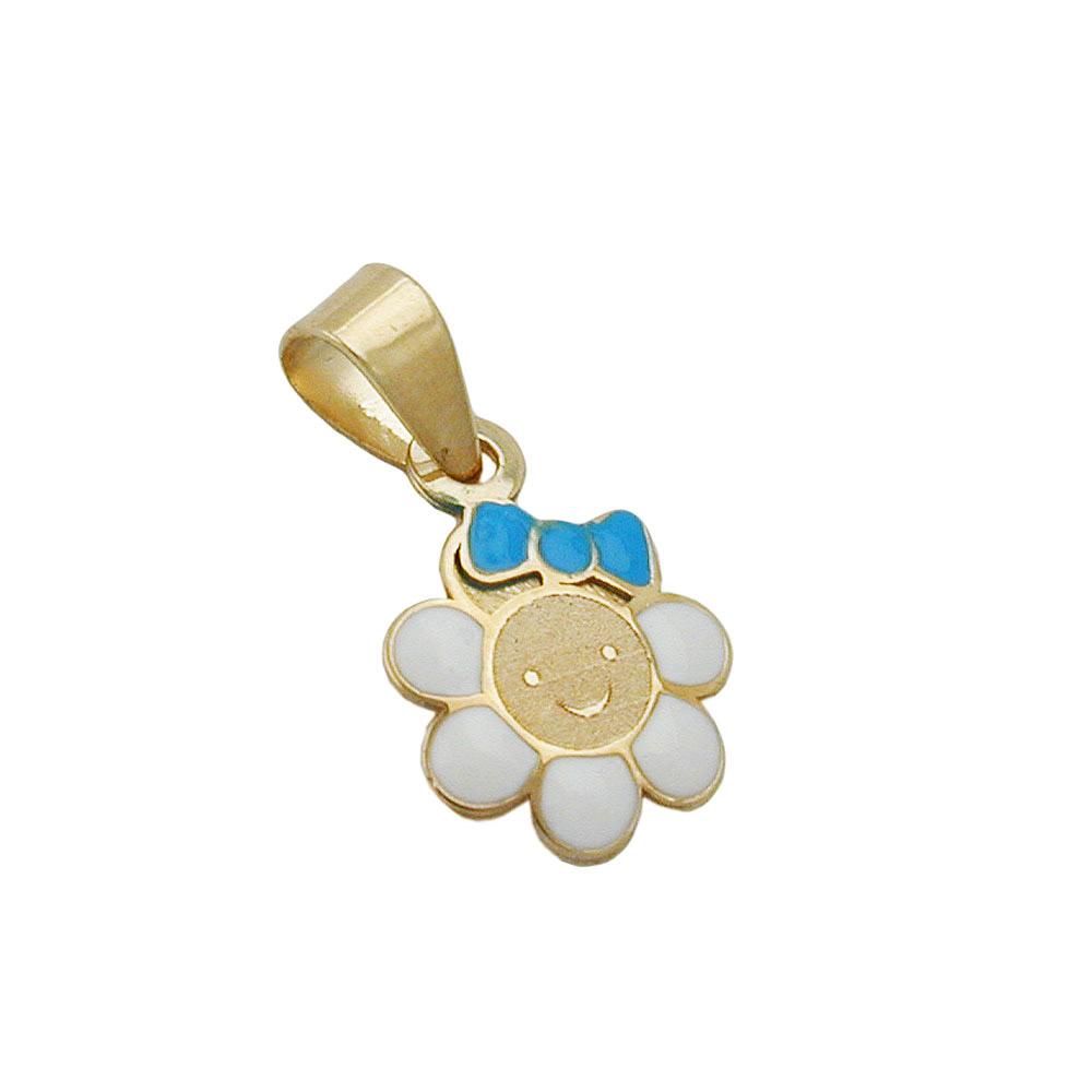 Anhänger, Blume mit Gesicht, Gold 375