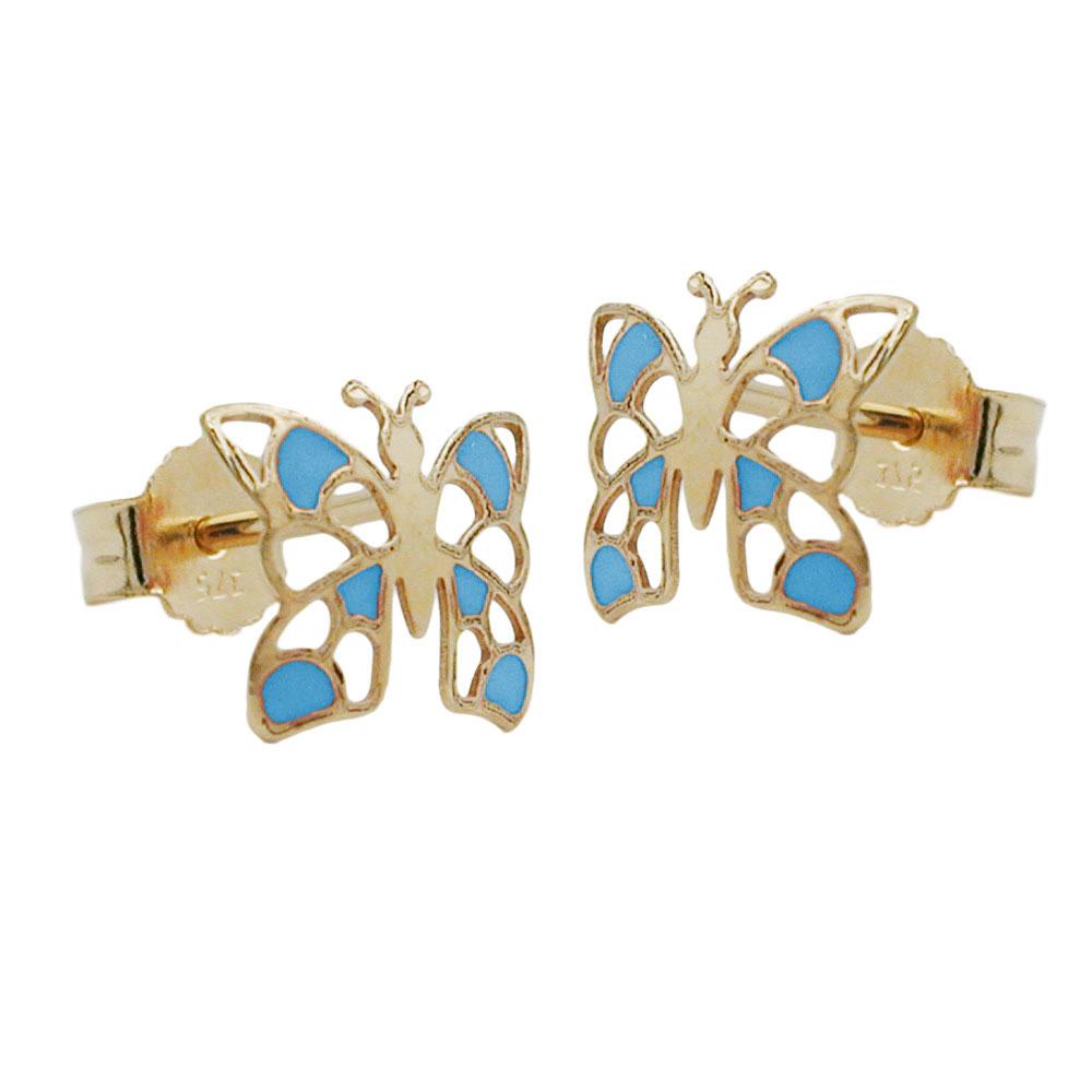 Ohrstecker, Schmetterling blau, Gold 375