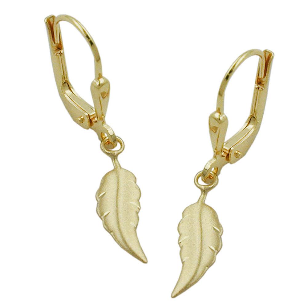 Ohrringe Brisur, Blatt matt-diamantiert, Gold 333