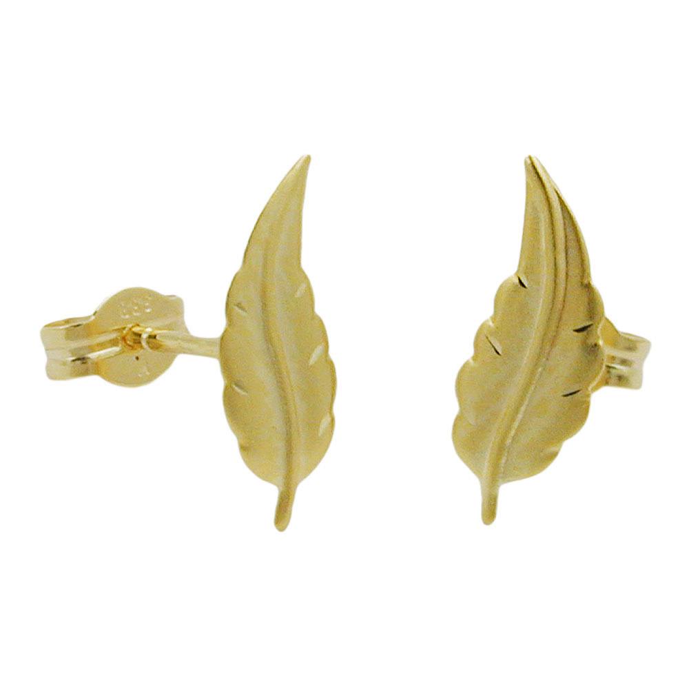 Ohrstecker Blatt matt-diamantiert, Gold 333