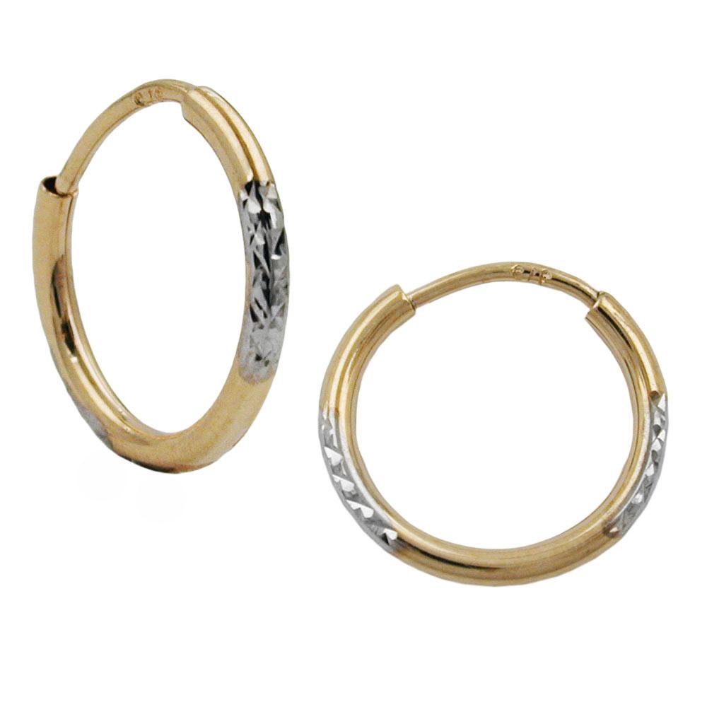 Creolen, bicolor, diamantiert, Gold 375