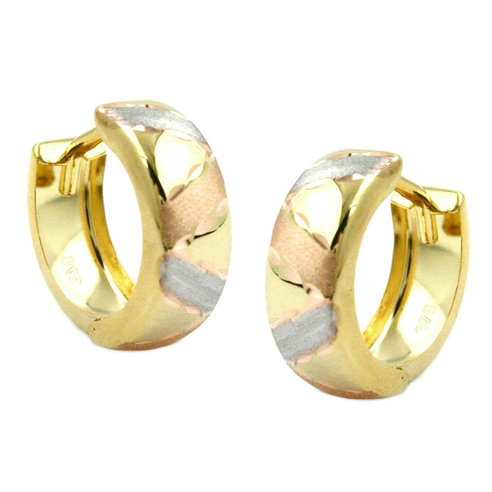Creolen, tricolor, diamantiert, Gold 375