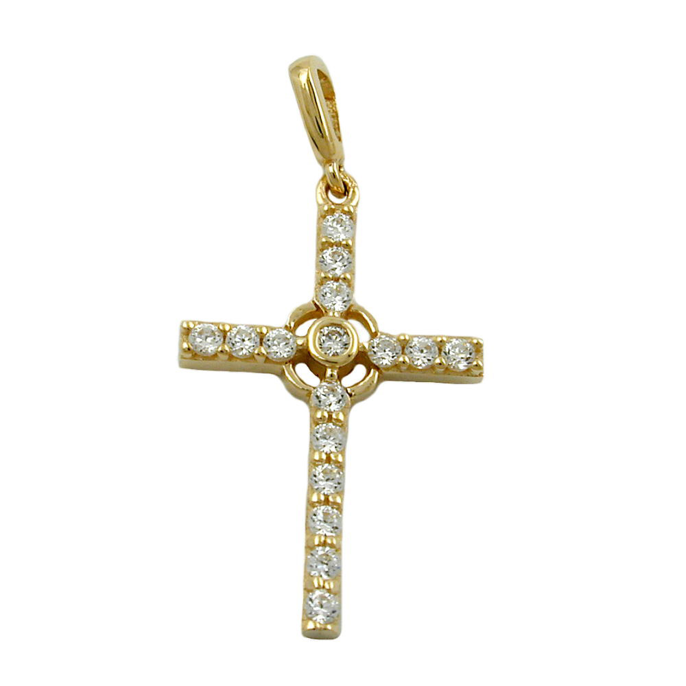 Anhänger, Kreuz mit Zirkonia, Gold 375