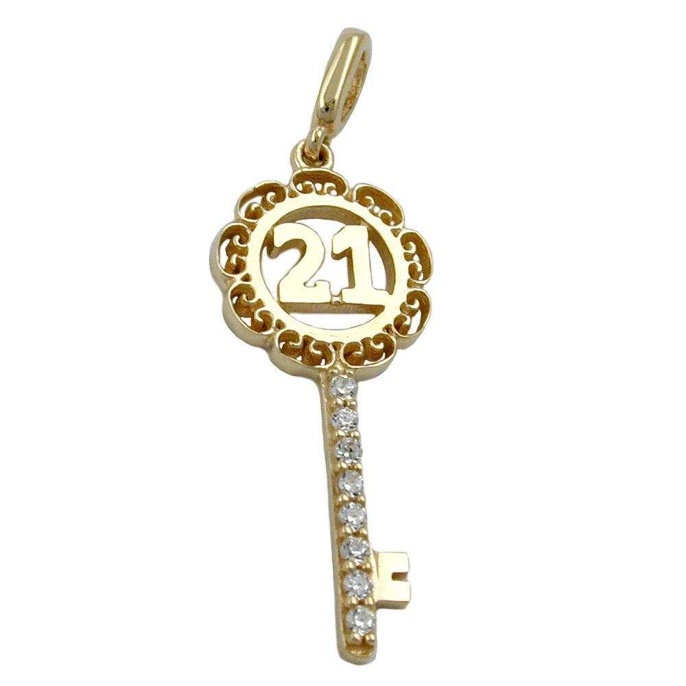Anhänger, Schlüssel -21-, Gold 375