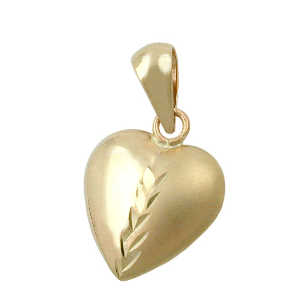 Anhänger, Herz mit Schliff, Gold 375
