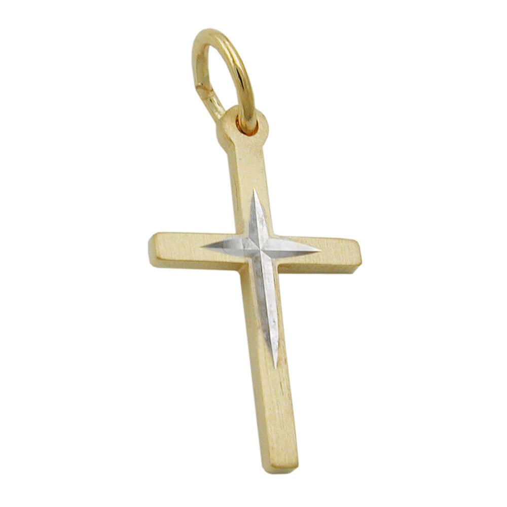 Anhänger, Kreuz bicolor, Gold 375