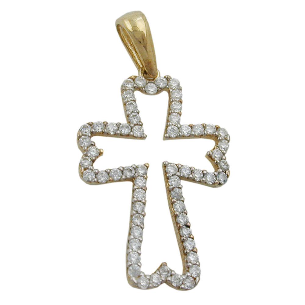 Anhänger, Kreuz, Zirkonia, Gold 375