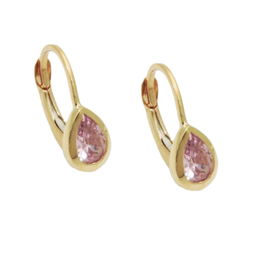Ohrringe Brisur, Tropfen, pink, fest, Gold 375