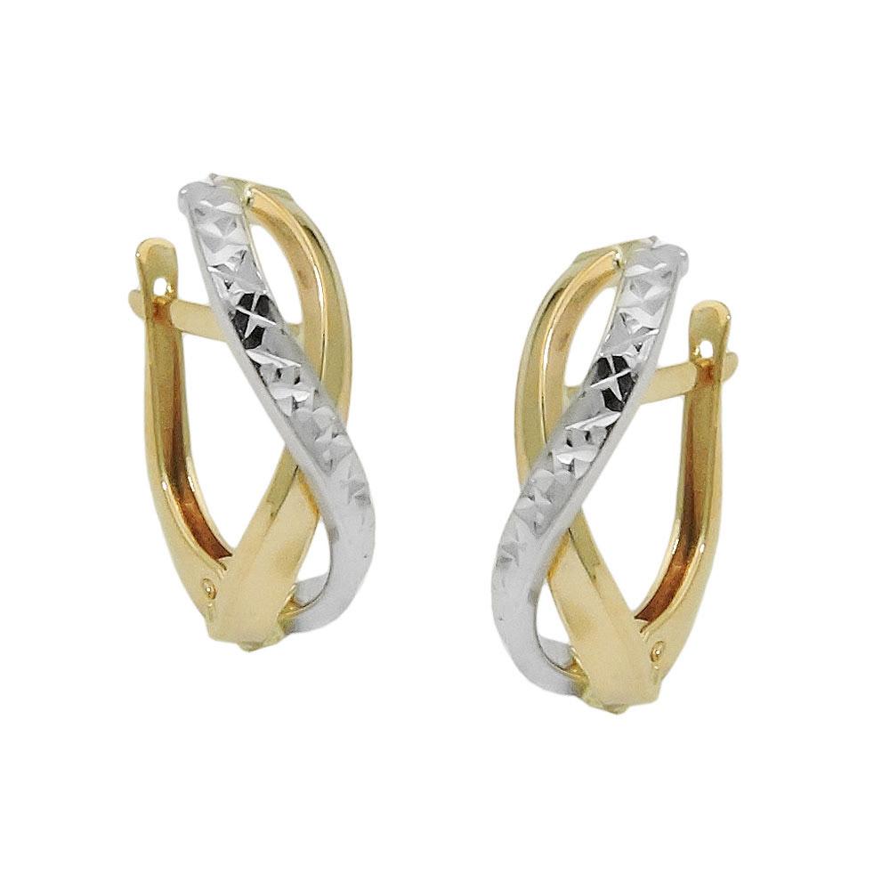 Creolen bicolor diamantiert Gold 375