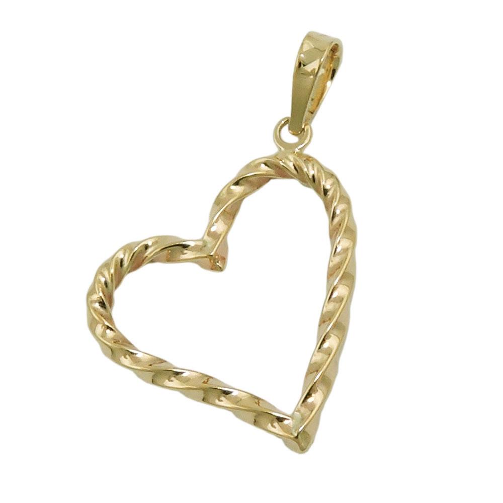 Anhänger, Herz gedreht, Gold 375
