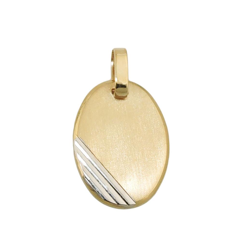 Anhänger Gravurplatte oval bicolor Gold 375