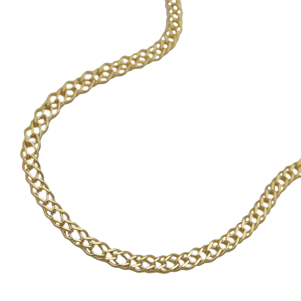 Armband, 19cm, Doppelpanzer, Gold 585