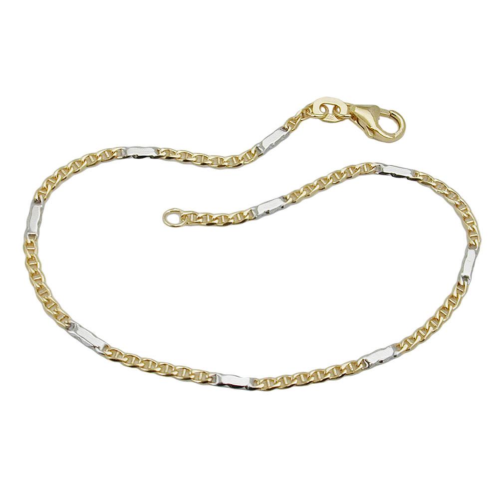 Armband, Stegpanzer, bicolor, Gold 375