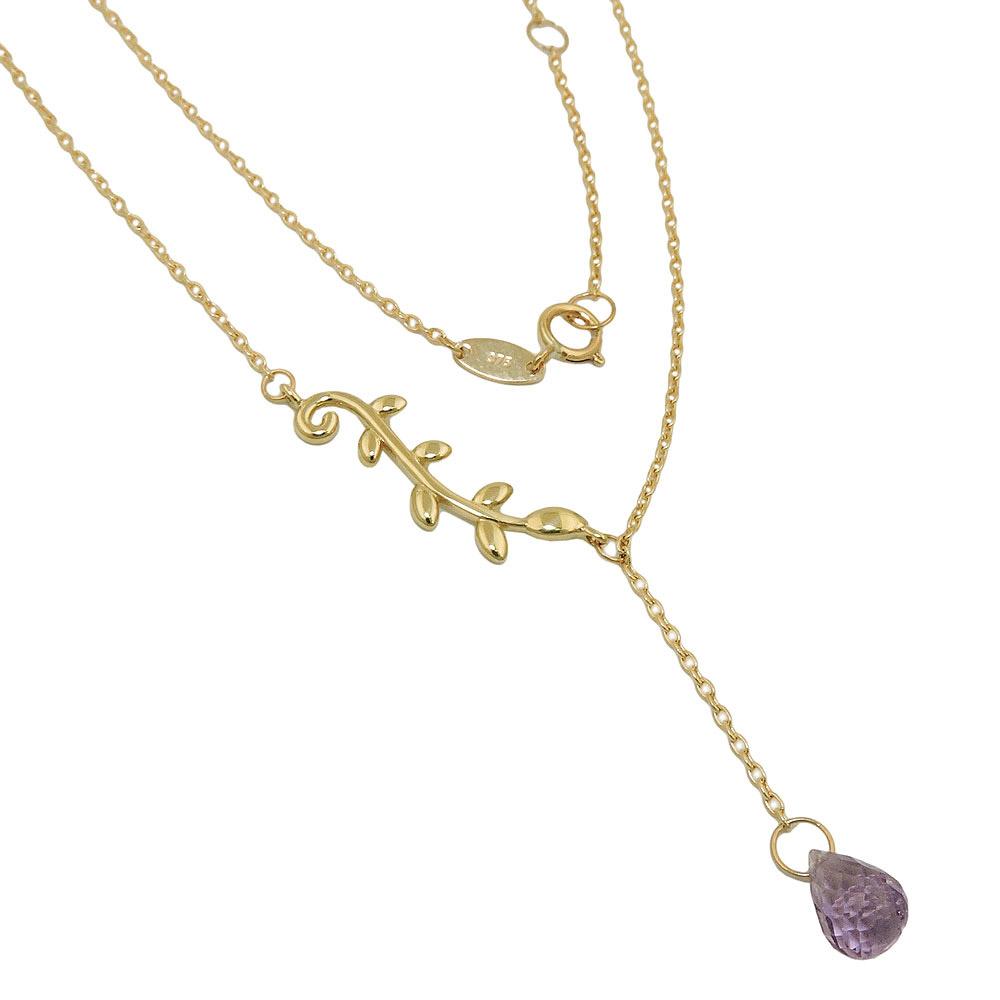 Kette, Y-Kette 45cm, Amethyst, Gold 375