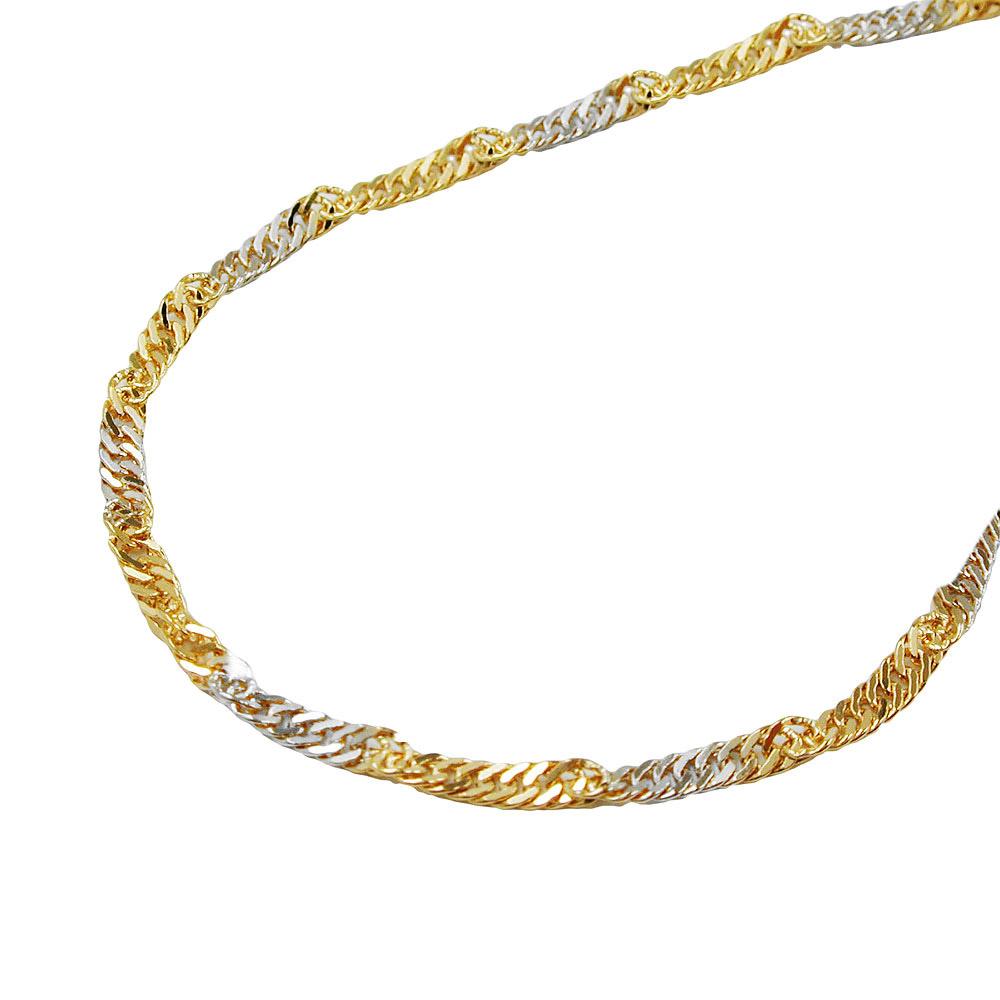 Kette, 50cm, Singapur bicolor, Gold 375