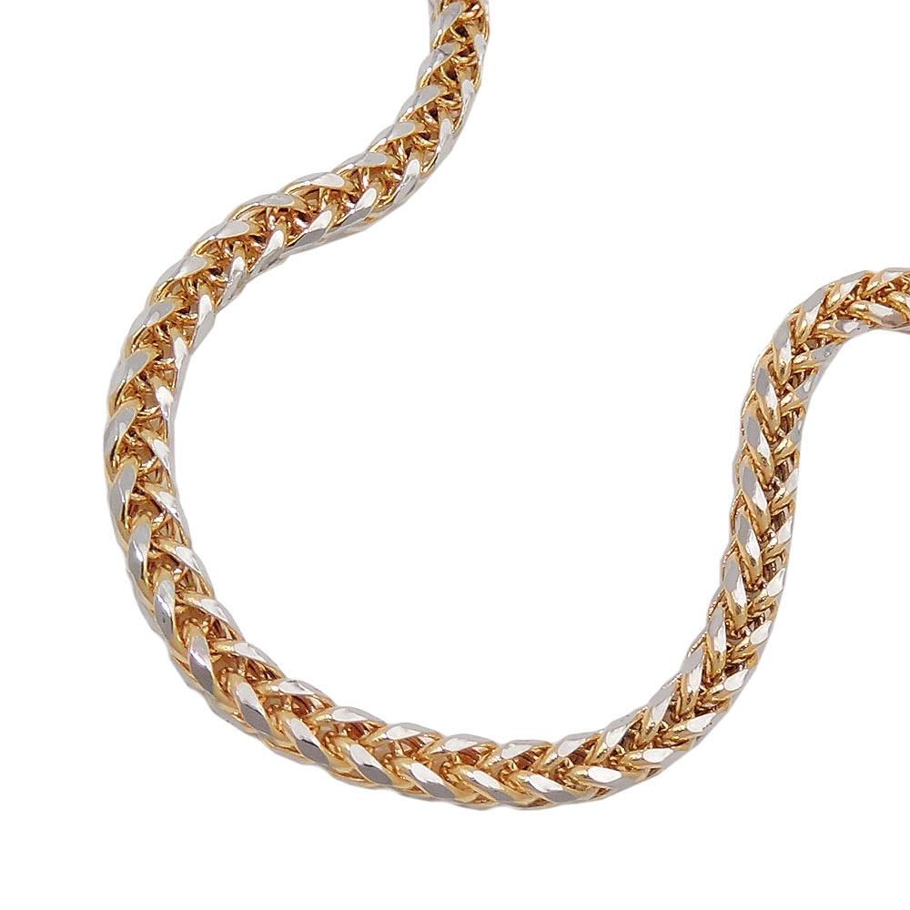 Armband, 19cm, Zopfkette, bicolor, Gold 585