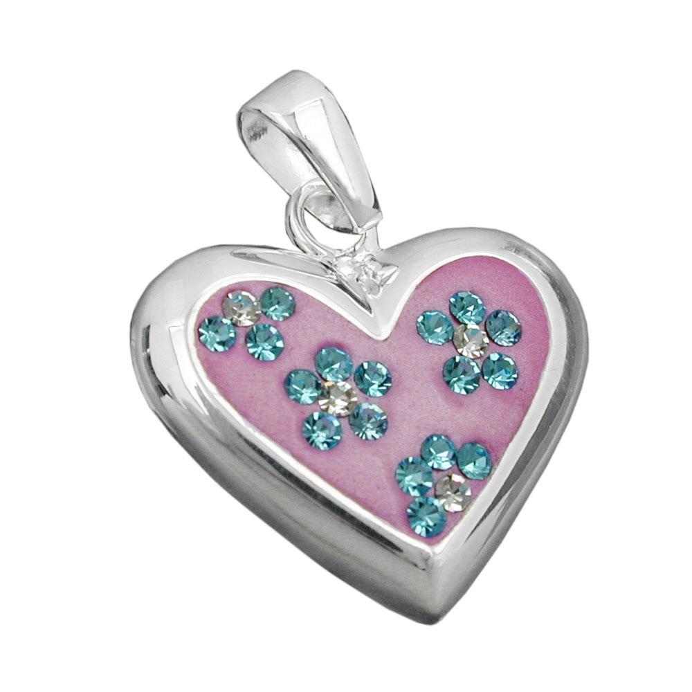 Anhänger rosa Herz Zirkonia, Silber 925