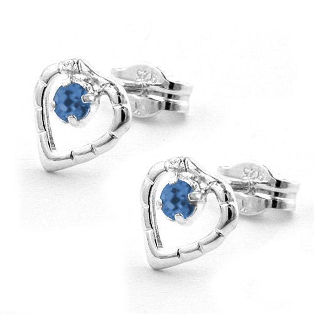 Ohrstecker, Herz Glasstein blau Silber 925