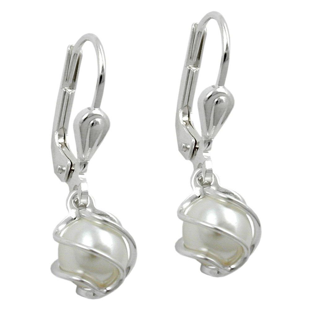 Ohrringe Brisur, Perle Imitat-weiß, Silber 925