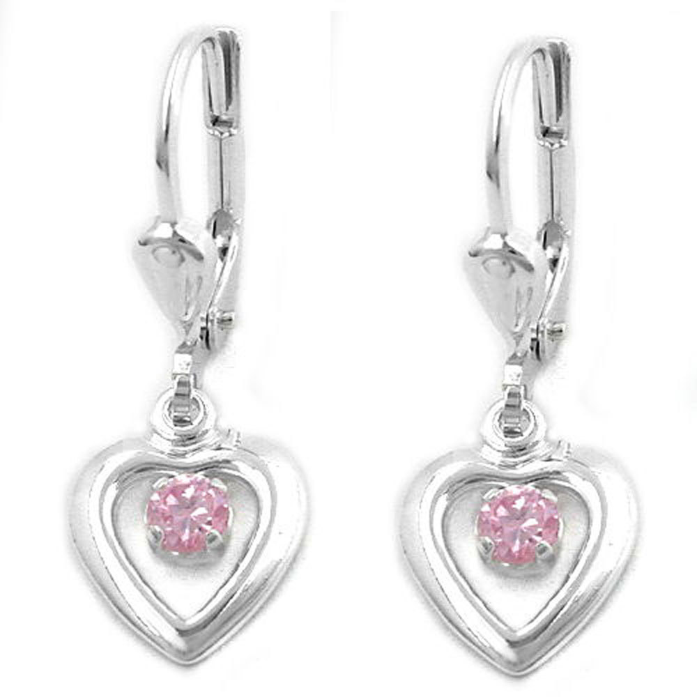 Ohrringe Brisur, Herz Zirkonia-pink, Silber 925