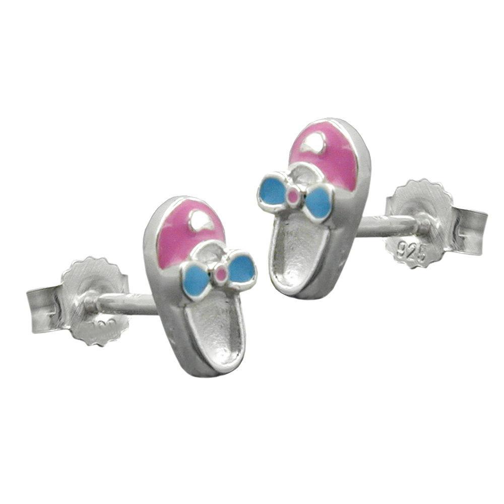 Ohrstecker, Schuh rosa-hellblau, Silber 925