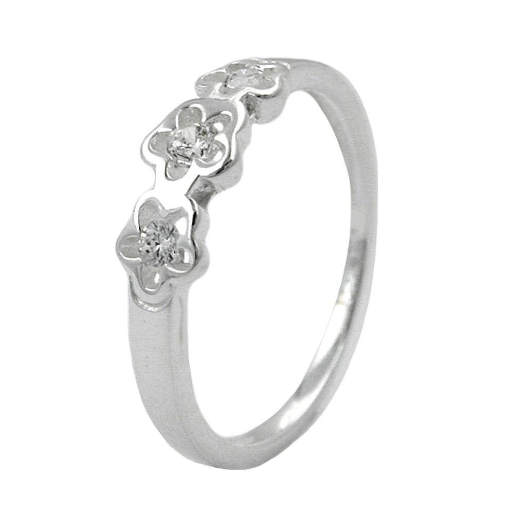 Ring mit 3 Blumen, Zirkonia, Silber 925