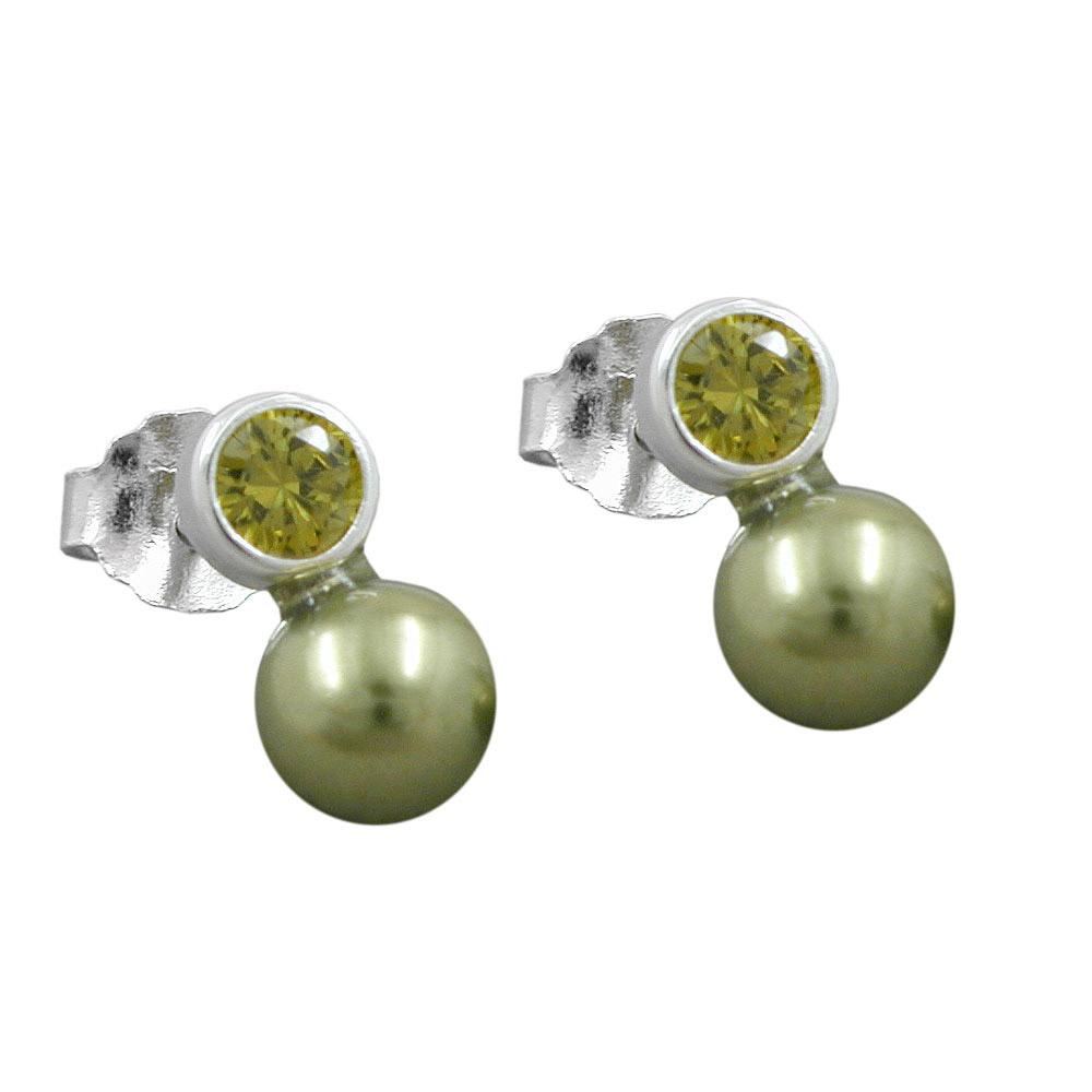 Ohrstecker, Zirkonia oliv, Perle Imitat 925