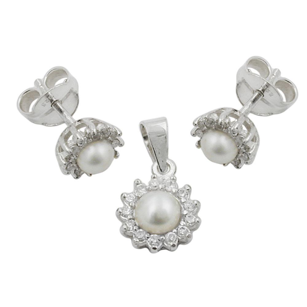 Set, Ohrstecker/Anhänger Perle, Silber 925