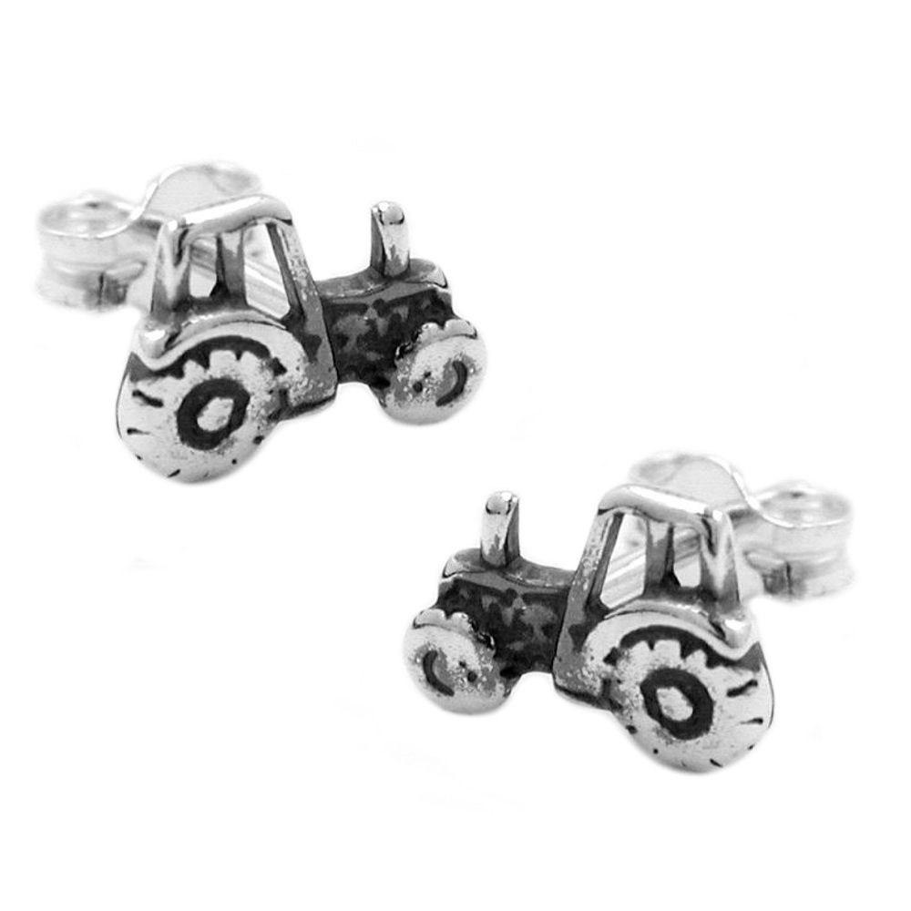 Ohrstecker, Traktor geschwärzt, Silber 925