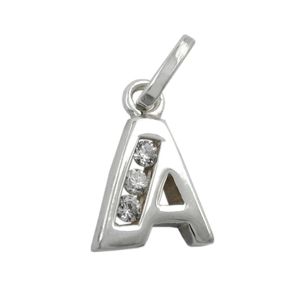 Anhänger, Buchstabe A mit Zirkonia Silber 925