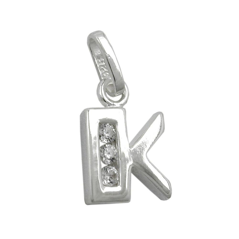 Anhänger, Buchstabe K mit Zirkonia Silber 925