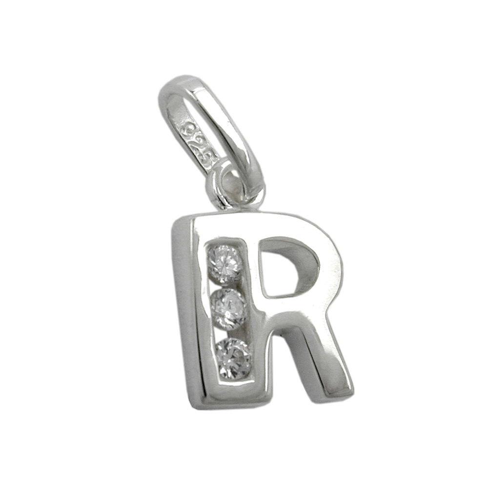 Anhänger, Buchstabe R mit Zirkonia Silber 925