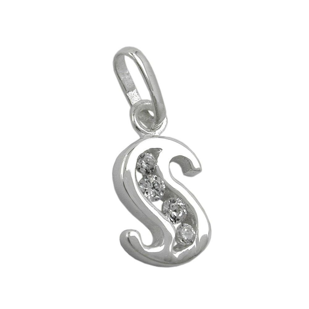 Anhänger, Buchstabe S mit Zirkonia Silber 925