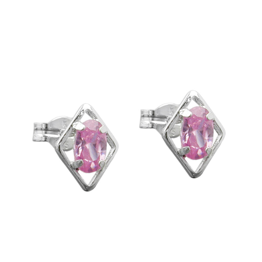 Ohrstecker Rhombus pink Zirkonia Silber 925