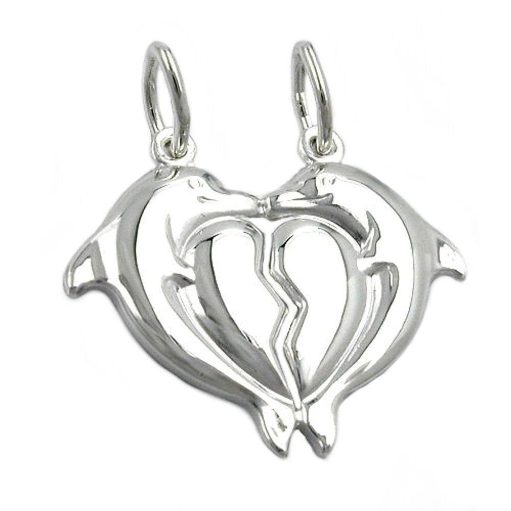 Anhänger 23x20mm Doppel-Delfin Herz glänzend Silber 925
