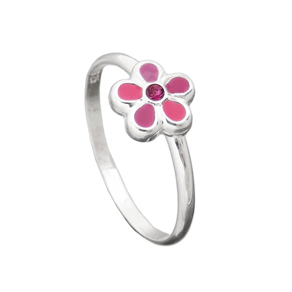 Ring Kinder, Blume pink, Silber 925